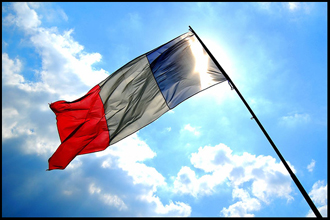 French flag flying in wind