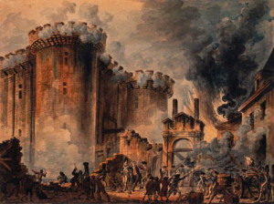 "Painting by Jean-Pierre Houël, entitled Prise de la Bastille (""The Storming of the Bastille"")"
